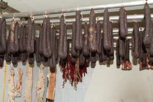 Rural traditions. Sausages dryer